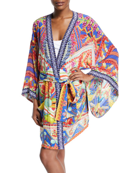 Printed Silk Belted Kimono, One Size