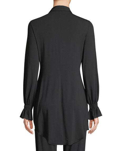 Lapis Lace-Inset Long-Sleeve Lounge Shirt