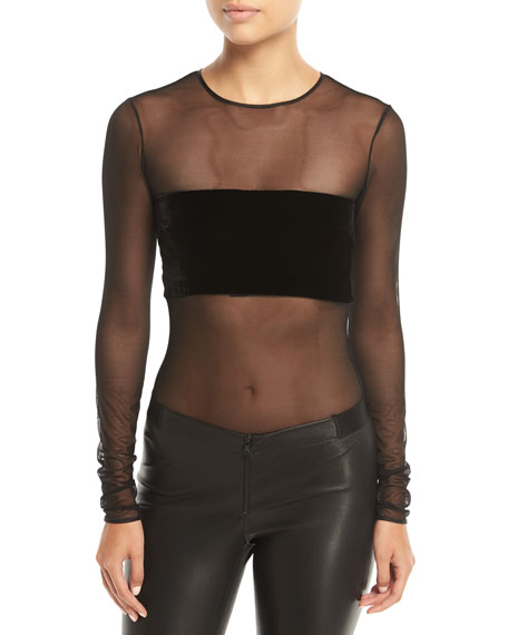 Mora Long-Sleeve Sheer Mesh Bodysuit