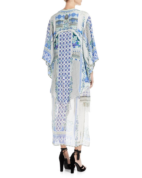 Open-Front Beaded Silk Kimono Coverup, One Size