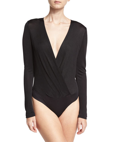 Lala Satin Long-Sleeve Surplice Bodysuit