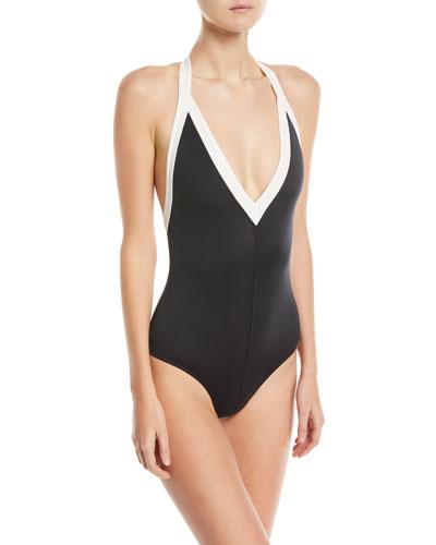 Colorblock T-Back Halter Swimsuit