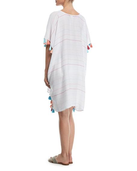 V-Neck Striped Kaftan Coverup w/ Tassel Trim, One Size