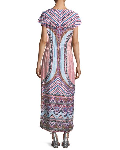 Sahara Nights Split-Neck Printed Long Kaftan Dress
