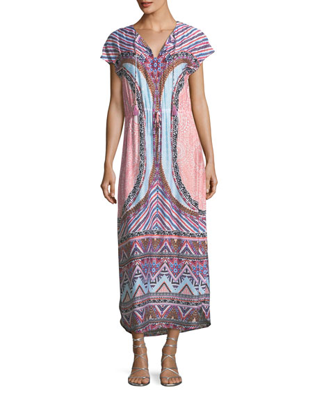 Sahara Nights Split-Neck Printed Long Kaftan Dress