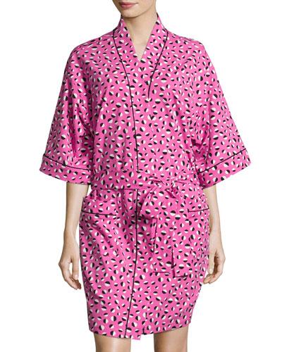 Demi Ball Dot Short Kimono Robe, Fuchsia/Black