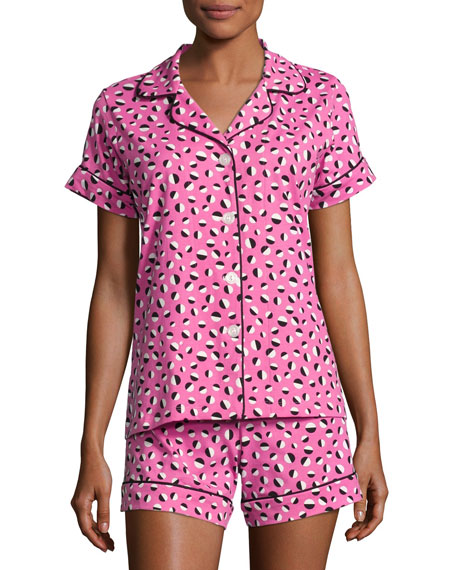 Demi Ball Dot Shorty Pajama Set, Fuchsia/Black, Plus Size