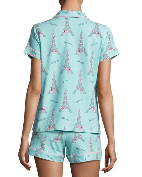 French Bow Shorty Pajama Set, Light Blue, Plus Size