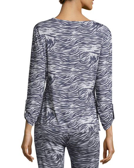 Capone Long-Sleeve Lounge Top, Dove Gray/Anthracite