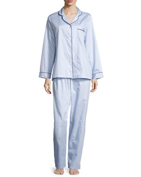 P Jamas Fine Striped Long-Sleeve Pajama Set, Blue/White