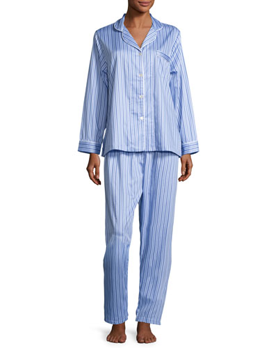 Haberdashery Long-Sleeve Pajama Set  Blue/White