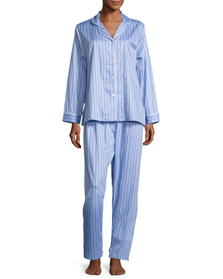 Haberdashery Long-Sleeve Pajama Set, Blue/White