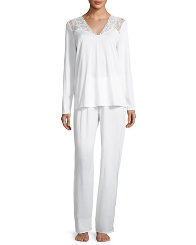 Daphne Lace-Trim Pajama Set, White