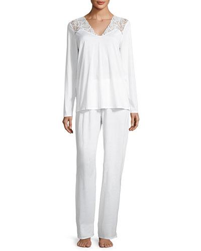 Daphne Lace-Trim Pajama Set, White