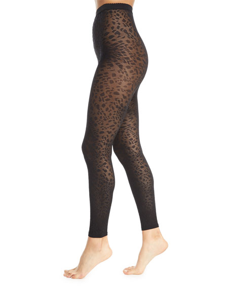 Avril Leopard-Print Footless Tights