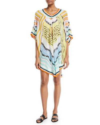 Keyhole-Front Short Printed Caftan Coverup