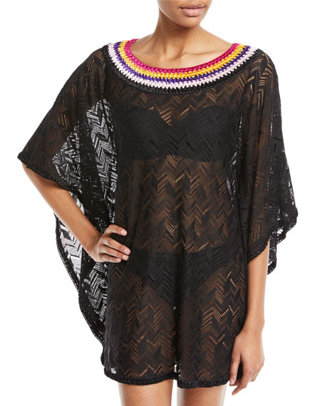 Embroidered Bateau-Neck Short Kaftan