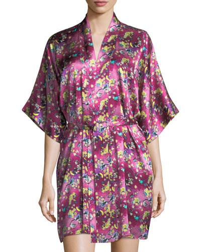 Whimsy Floral-Print Silk Robe