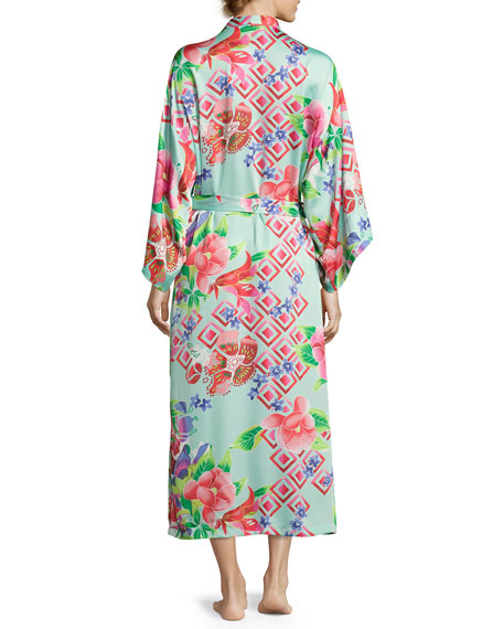 Star Blossom Long Satin Robe, Blue Pattern