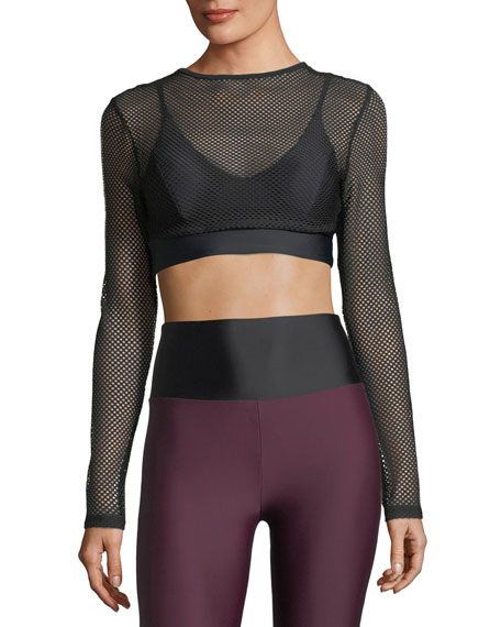Boden Long-Sleeve Mesh Layered Sports Bra