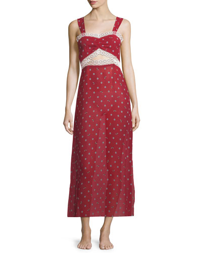 Joana Bee Daisies Lace-Trim Nightgown