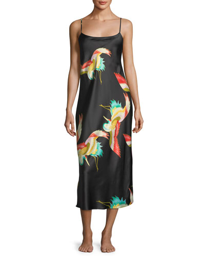 Vermillion Bird-Print Satin Nightgown
