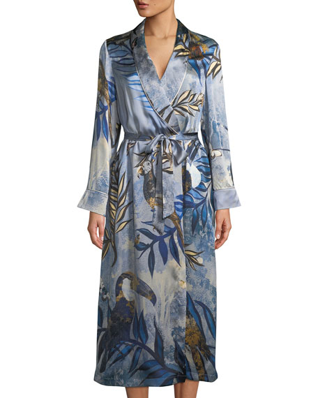 Bianca Bird-Print Silk Robe