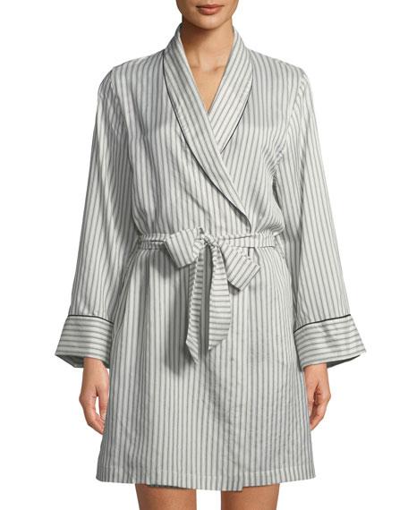 Alix Striped Long-Sleeve Silk Robe