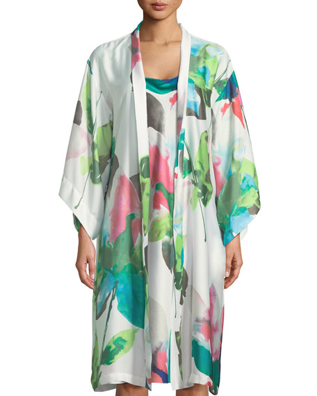 Water Lily-Print Satin Nightgown