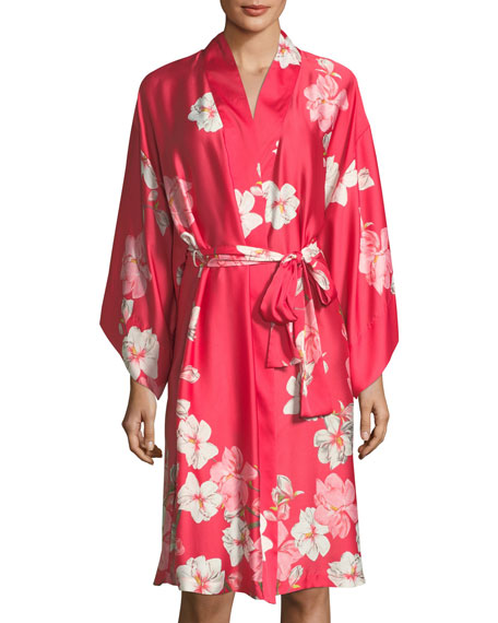 Magnolia Print Satin Long Robe