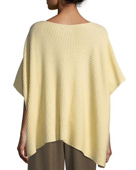 Hand-Loomed Ribbed Knit Square Cashmere/Cotton Panelled Caftan
