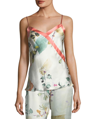 Watercolor Floral-Print Silk Camisole