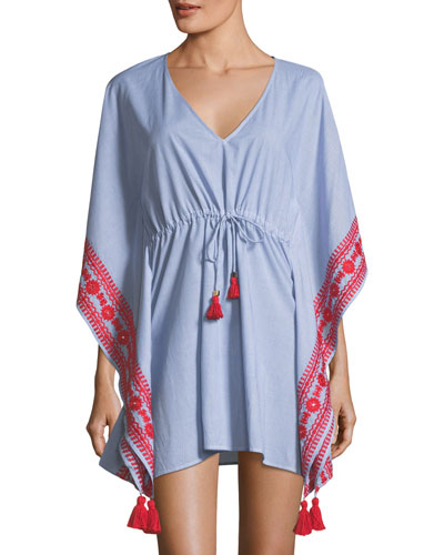 Ravena V-Neck Tie-Waist Cotton Caftan Coverup