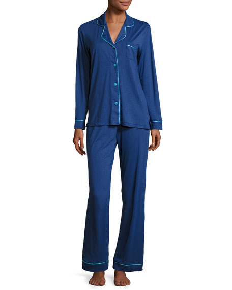 Bella Contrast-Trim Long-Sleeve Pajama Set