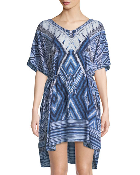 Desert-Tribe Printed Kaftan Coverup, One Size, Blue