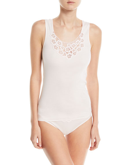 Summer Seamless Cotton Layering Tank with Lace Detail