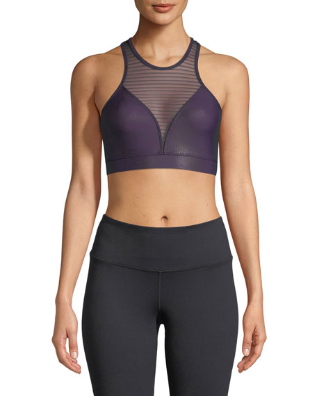 High-Neck Striped-Mesh Sports Bra