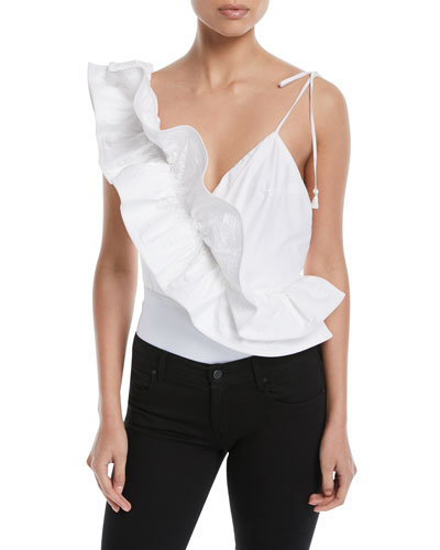 V-Neck Asymmetric-Ruffle Cotton Poplin Bodysuit
