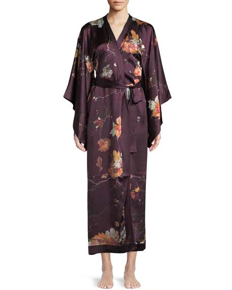 MENG Floral-Print Silk Kimono Caftan in Multi Pattern