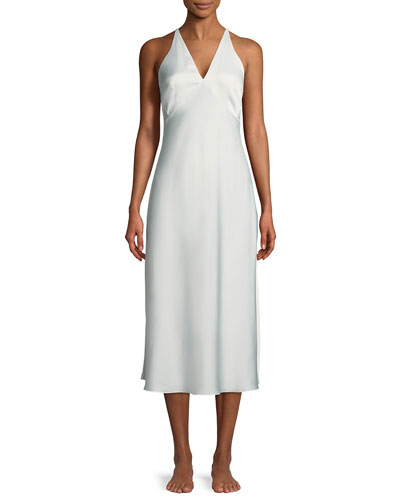 Feathers Satin Night Gown
