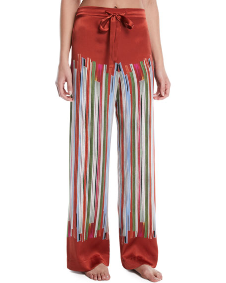 MENG Striped Silk Pajama Trousers in Red Pattern