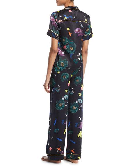 Floral-Print Silk Pajama Set