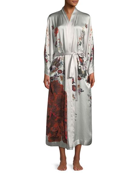 Rose Peacock Long Kimono Robe