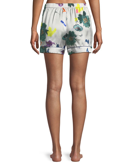 Floral-Print Silk Lounge Shorts