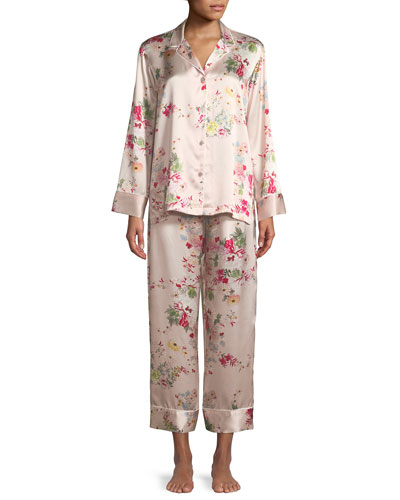 Perennial Notch Silk Pajama Set