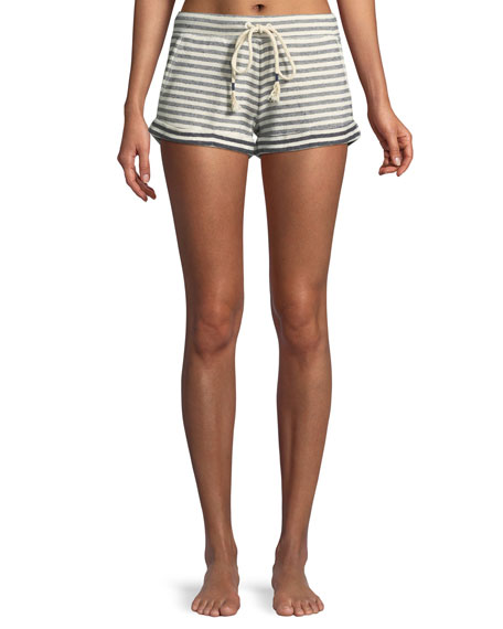 Clooney Striped Cotton-Jersey Pajama Shorts, White/Blue
