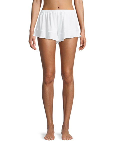Ruffled Cotton Lounge Shorts