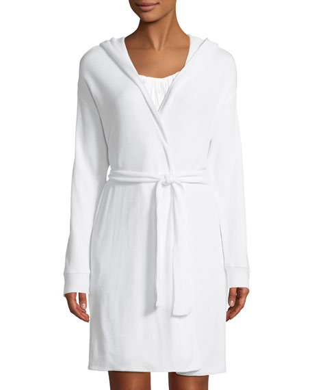 SKIN Avedon Hooded Waffle-Knit Cotton Robe in White