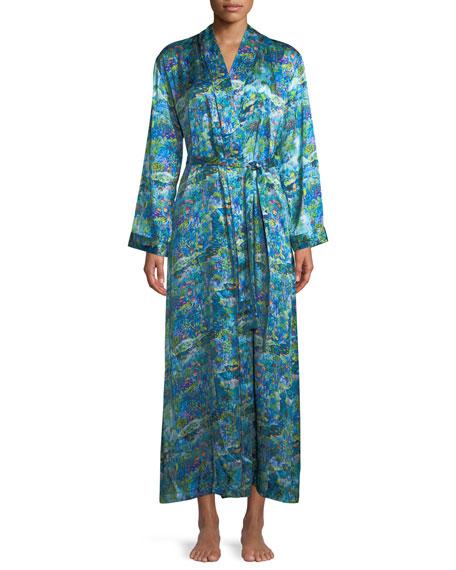 Brindisi Long Floral-Print Silk Robe