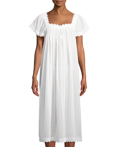 Antigona Cap-Sleeve Long Nightgown